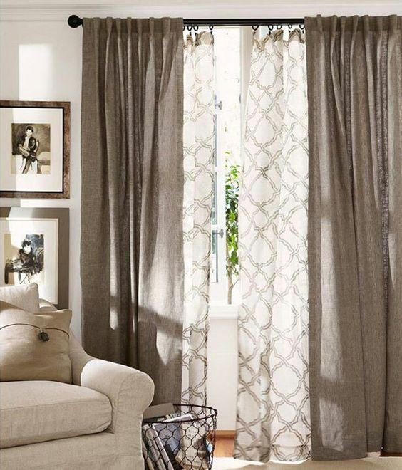 Blackout Curtain Walnut and Sheer