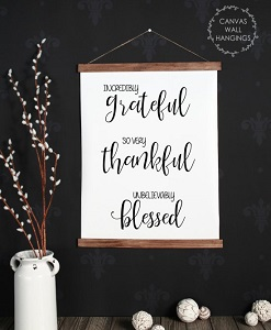 Wood & Canvas Wall Hanging Grateful Thankful Blessed Wall Art Sign