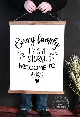 Wood & Canvas Wall Decor Hanging Every Family Has a Story Wall Art Sign