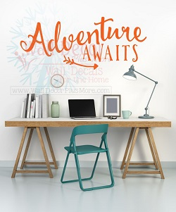 Inspirational Wall Quotes Decal in Orange for Home Office