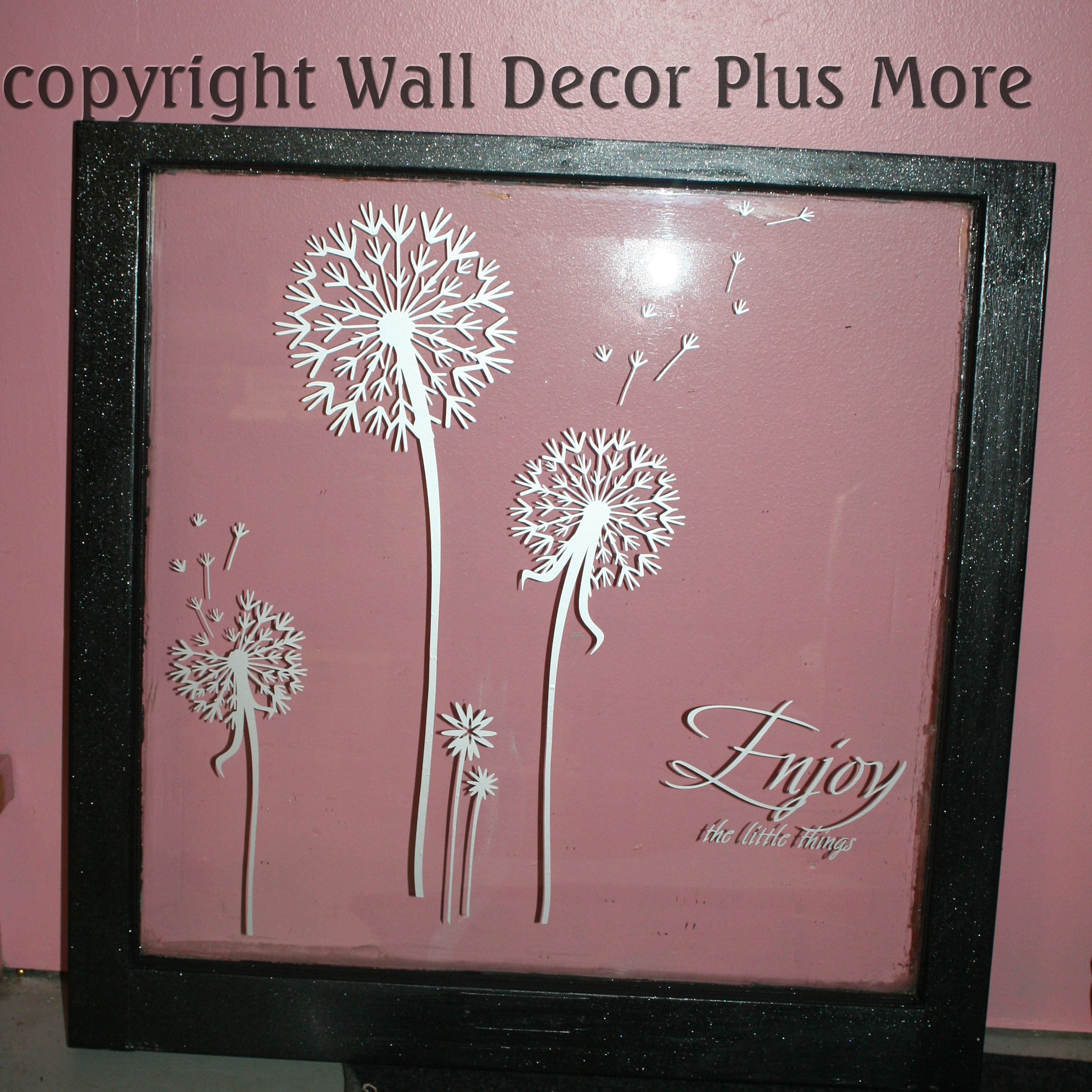 Dandelion Silver Decals on window glass