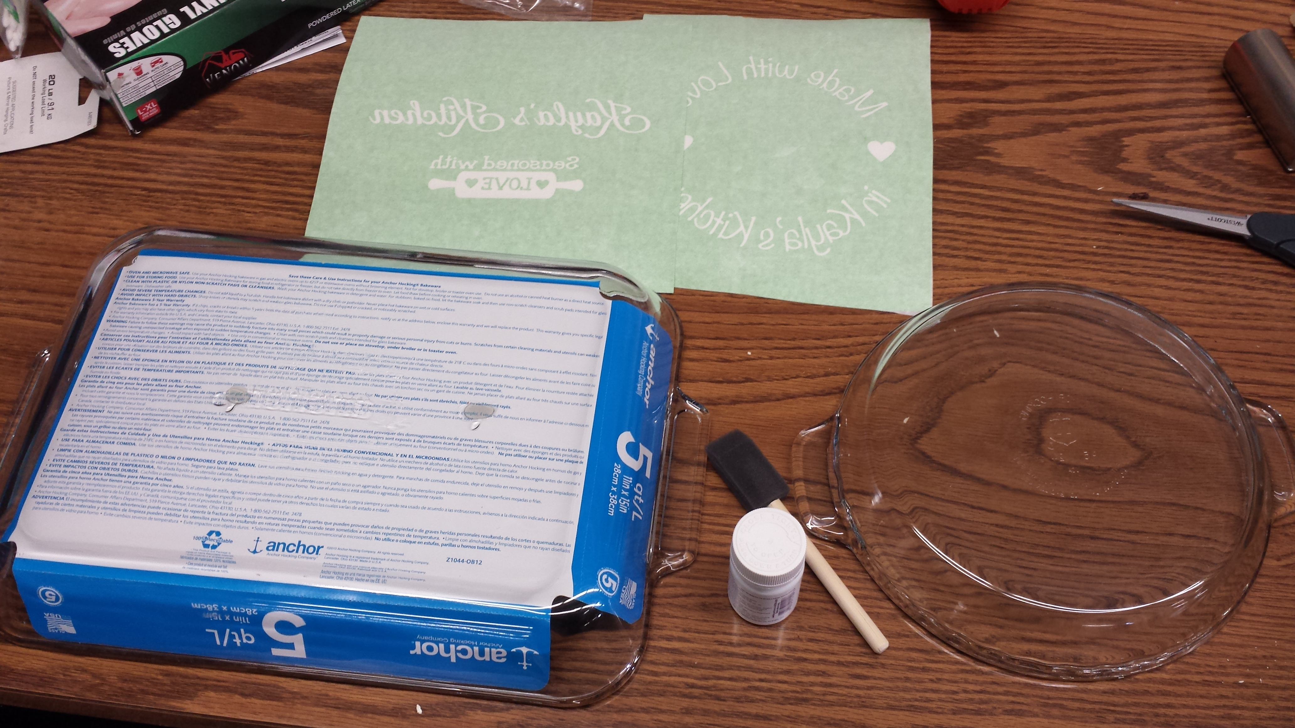 Supplies need to etch a personalized design on glass dish using vinyl decal stickers