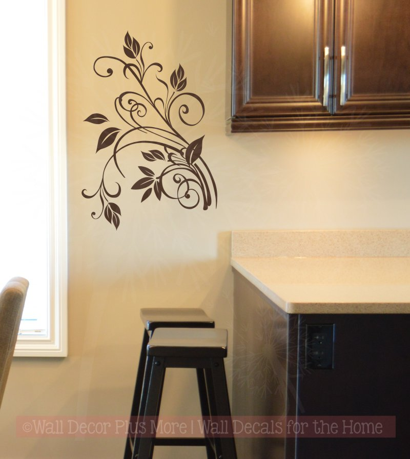 Floral2 Wall Decal Sticker adds warmth to this otherwise blank area of the Kitchen