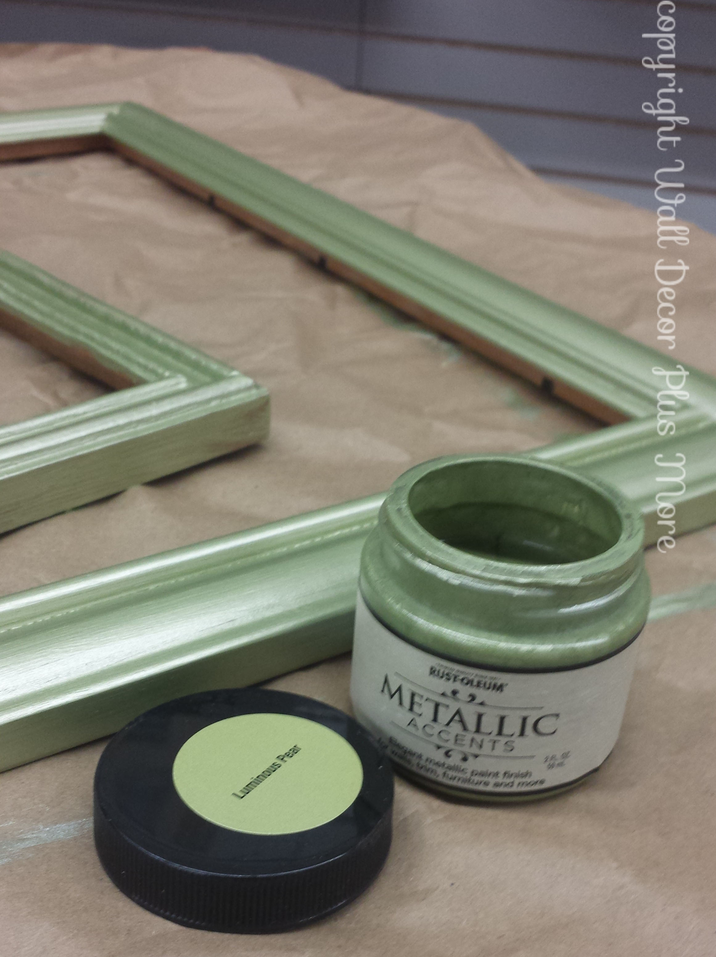 Gorgeous Pear Metallic Sheen paint for floating glass frames