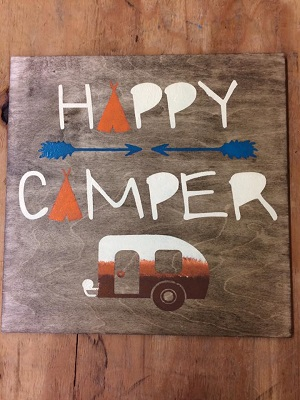 Happy Camper PAinting PArty Craft Night Stencil Board
