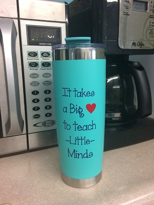 It Takes A Big Heart to Teach Little Minds - Glossy Vinyl Decal Stickers for Teacher, Customized with Name, Great for Water Bottles & Tumblers
