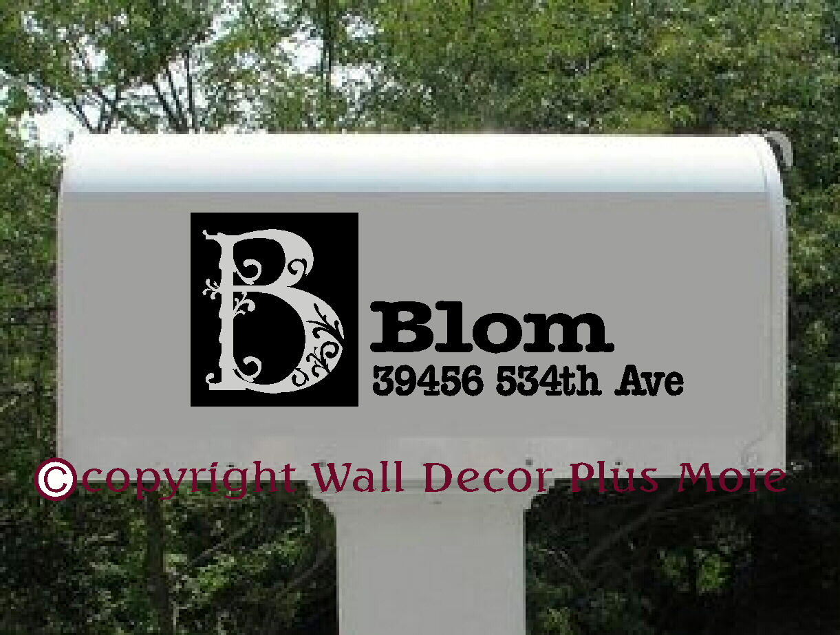 Mailbox Decal Sticker with Monogram Floral Letter
