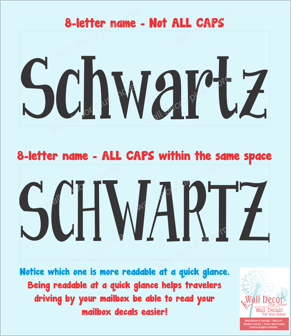 mailbox18 Caps Fonts comparison on Mailbxo Decals for easy readablity