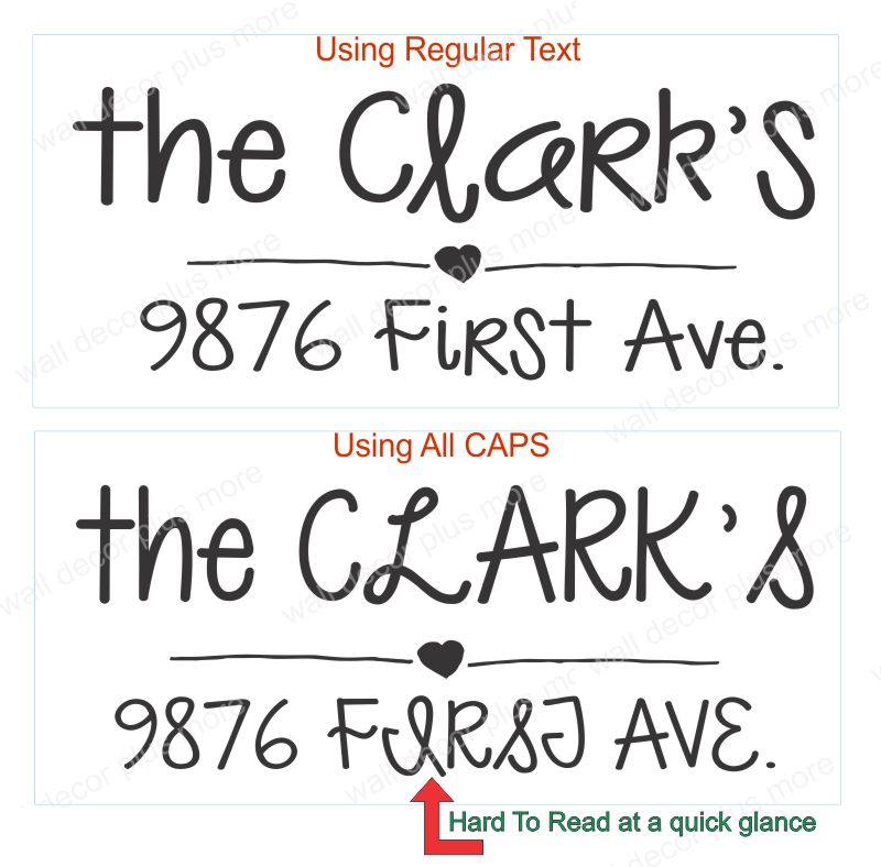 Mailbox Decals Custom Text Using All Caps Lettering