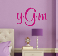 Personalized Monogram Wall Decal Sticker in Girls Room Hot Pink