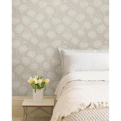 Nuwallpaper™ Dandelion Peel And Stick Wallpaper in Grey