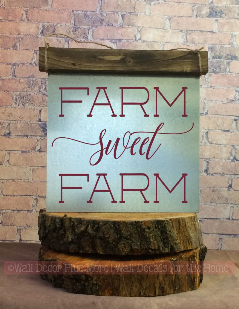 Farm Sweet Farm Wood Sign Metal Inspiring Words Hanging Wall Art, 3 Sign Choices