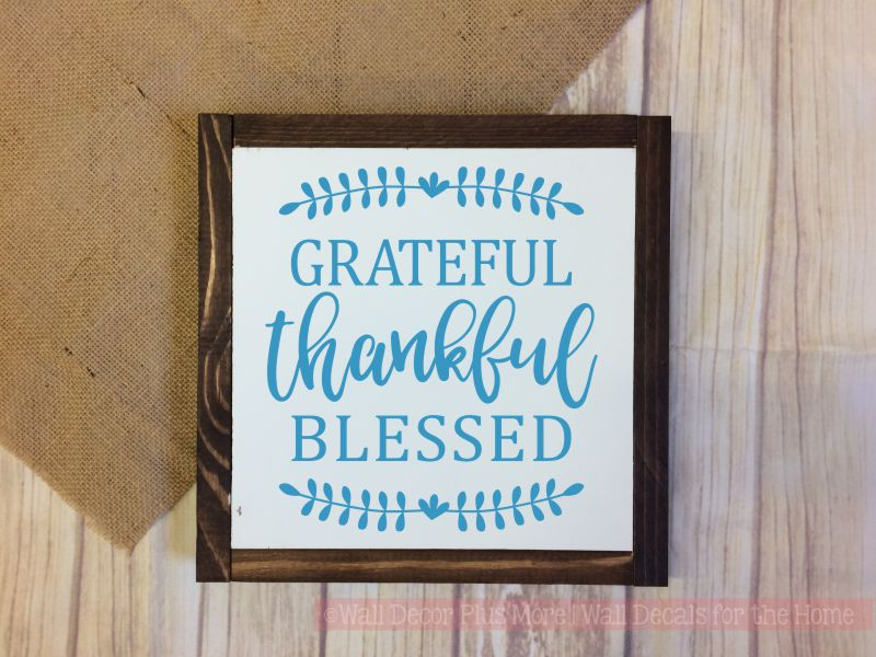 Grateful Thankful Blessed Wood Sign Metal with Quote, Hanging Wall Art, 3 Sign Choices