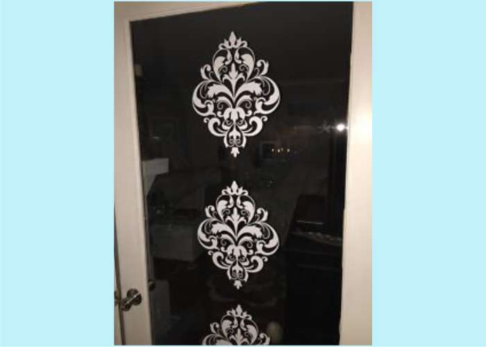 WD092 Floral Medallions added to a glass door