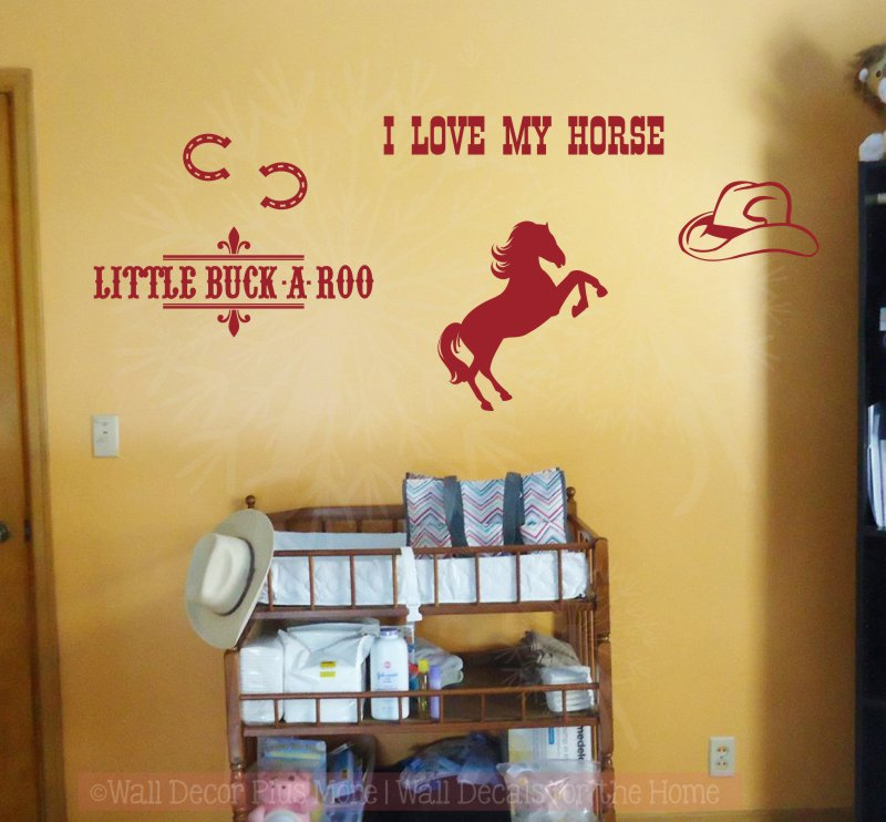 Cowboy Wall Decal Stickers I love my horse Little Buck-a-roo