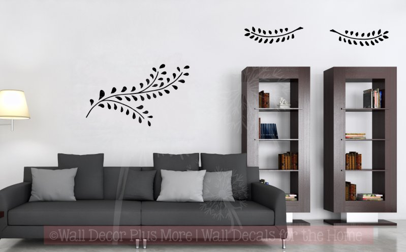 WD1040 Laurel Leaf Branches set of 3 Wall Decal Stickers