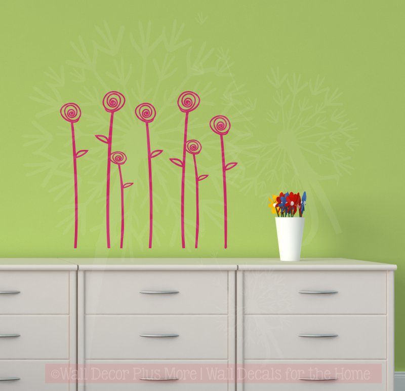 WD1058  Doodle Rose Flower Wall Decal Stickers