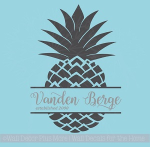 Pineapple Last Name Est Monogram Vinyl Letter Decals Wall Art Stickers