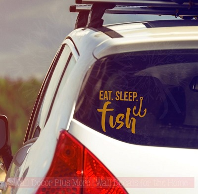 Eat Sleep Fish Fishing Car Decals Fisherman Window Sticker Vinyl Quote