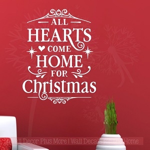 Hearts all home for Christmas Winter decor Wall Decal