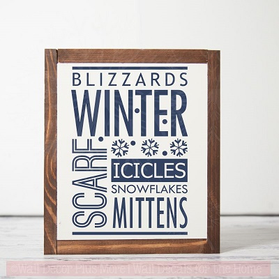 Wall Decor Winter Words Blizzards Snow Wall Sticker Quotes Vinyl Decals