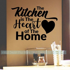 Kitchen Wall Decal Quote Heart of Home Vinyl Wall Art Sticker Black