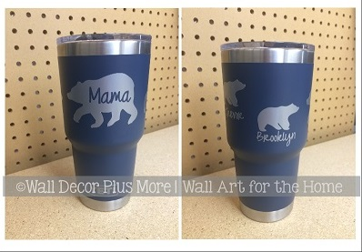 Here is a great idea for Mother's Day gifts - Tumbler Vinyl Decals! Many of them are personalized.. they come in a wide variety of colors... and they are made with our outdoor-grade sign vinyl for strong durability!