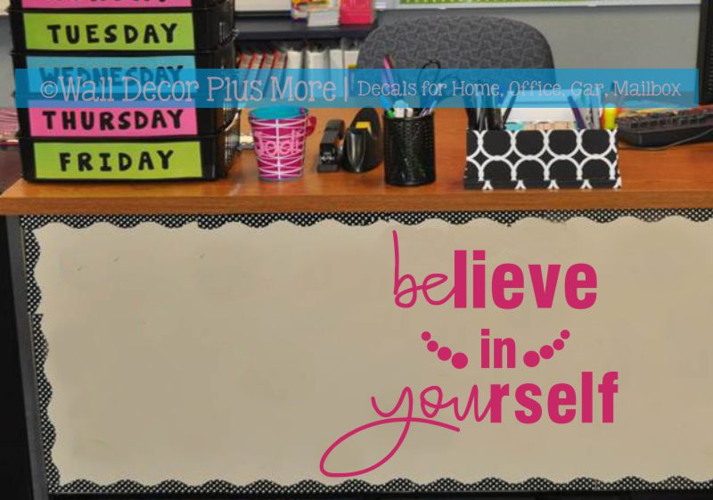 Teacher Wall Decor Classroom Wall Art Decoration Believe In Yourself Inspirational Quotes