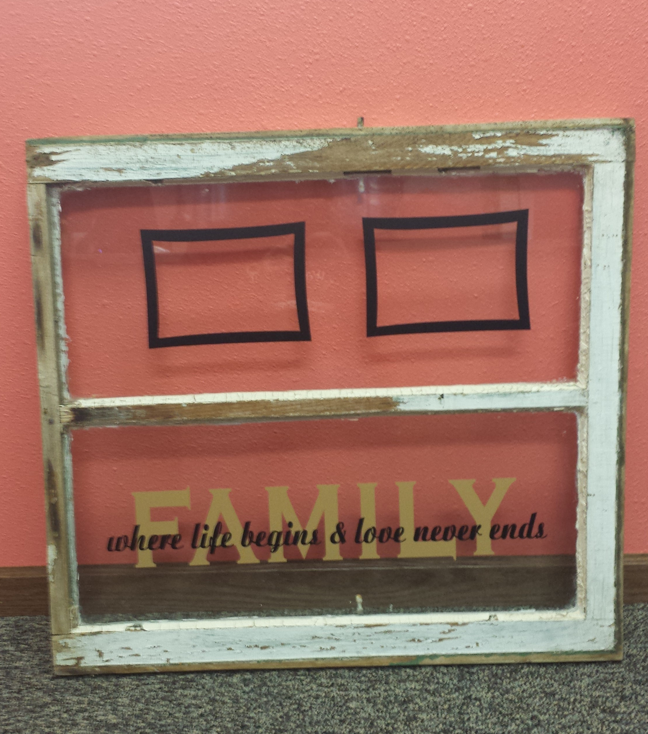 2-Color Family Decal Quote overlapped on old window glass