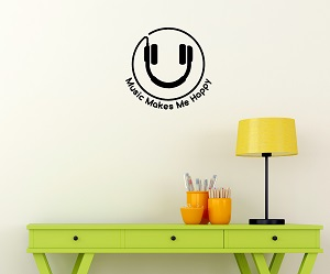 Music Makes Me Happy Kids Wall Decals Stickers
