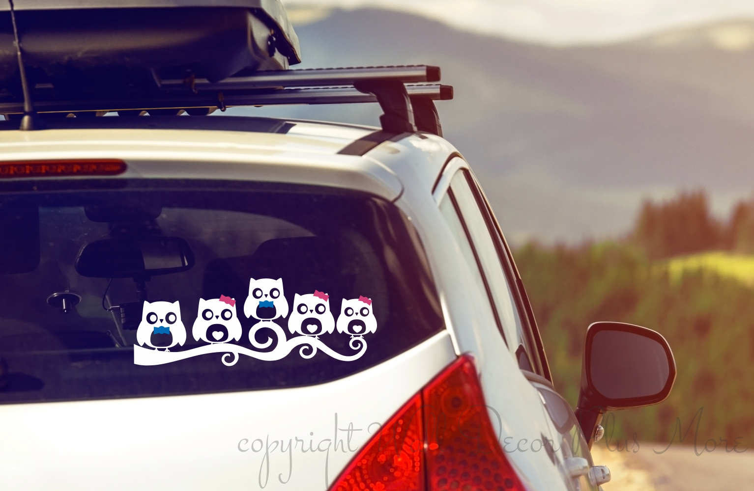 Owl Family with Blue or Pink bows for Car Window Decal