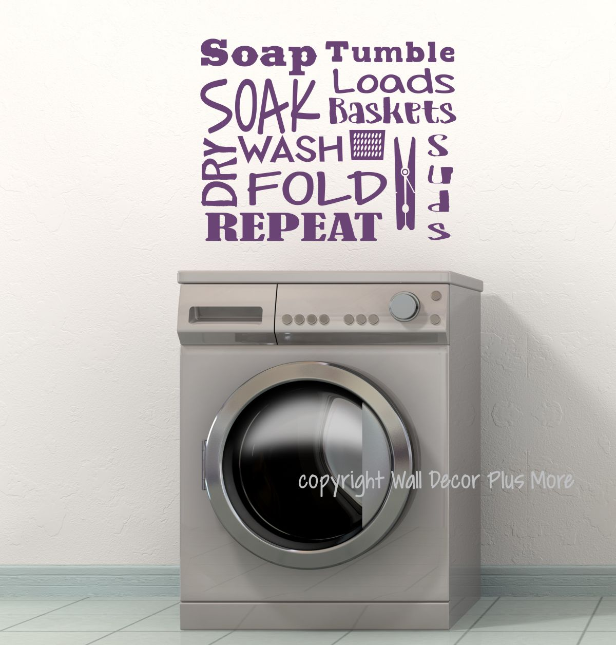 Laundry Room Wall Decal Letters Soak Wash Dry Fold Vinyl Stickers Circuit Board Tree Art Graphic Decals