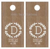 Monogram Personalized Custom Decal Stickers set of 2 for Beanbag Cornhole Game Boards