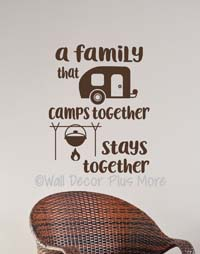 Family Camps Together Wall Art Decals Sticker
