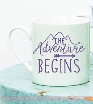WD863 The Adventure Begins Mug Tumbler Decals Vinyl Lettering Rtic Yeti Sticker Art Quote Glossy Purple