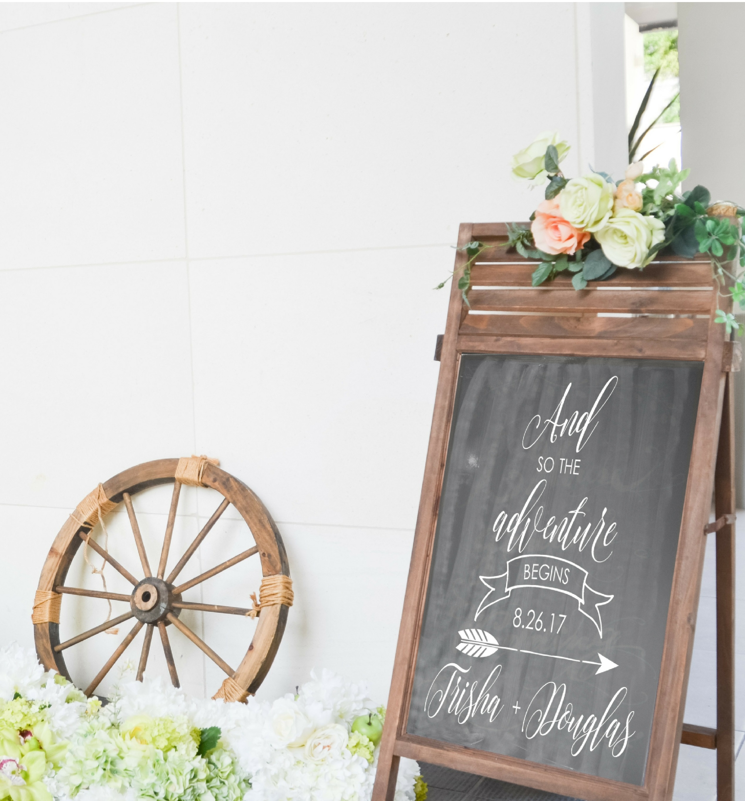 WD898 Personalized Wedding Welcome Sign And So The Adventure Begins