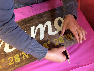 Remove the stencil sticker to reveal your painting design! Let dry, remove the insides of numbers/letters careuflly using a toothpick or exacto knife