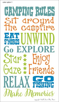 Camping Rules Multi colored Vinyl Wall Decal Stickers for Camper RV Decor Summertime