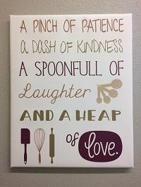Pinch Patience Heap of Love Kitchen Canvas Print Wall Art