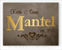 Metallic Gold Glitter Canvas Print Wall Art Personalized Wedding Gift Names